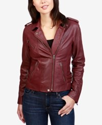 Lucky Brand Leather Moto Jacket Burgundy