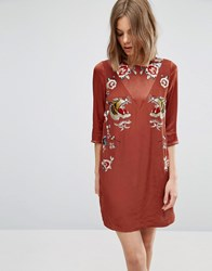 Asos Premium Shift Dress With Tiger Embroidery Rust Brown