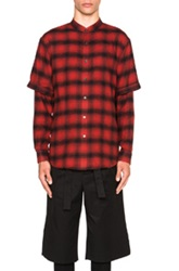 Public School Double Sleeve Mandarin Shirt In Red Checkered And Plaid