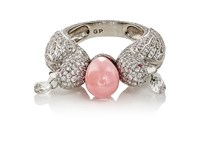 Munnu Women's Two Parrot Cocktail Ring Pink