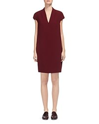 Whistles Paige V Neck Shift Dress Burgundy