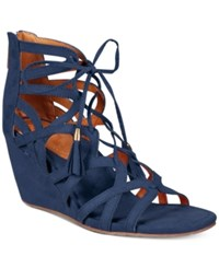 Kenneth Cole Reaction Women's Cake Pop Gladiator Lace Up Wedge Sandals Women's Shoes Navy