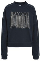 Just Cavalli Embellished French Cotton Terry Sweatshirt Navy