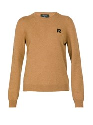 Rochas Logo Embroidered Cashmere Sweater Brown