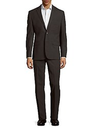Kenneth Cole Textured Wool Blend Suit Grey