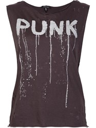 R 13 R13 'Punk' Sleeveless Destroyed Shirt Grey