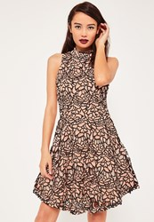 Missguided Nude Lace High Neck Sleeveless Skater Dress