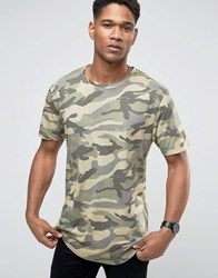 Only And Sons Crew Neck T Shirt In Camo Olive Night Green