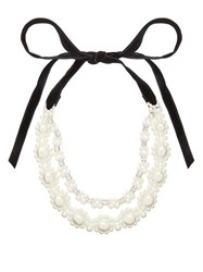Simone Rocha Floral Faux Pearl And Crystal Necklace Pearl