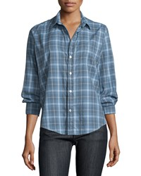Frank And Eileen Barry Long Sleeve Plaid Shirt Blue Gray Blue Grey