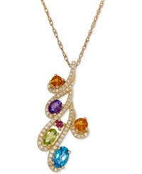 Macy's Multi Gemstone 1 1 6 Ct. T.W. And Diamond 1 5 Ct. T.W. Pendant Necklace In 14K Gold Yellow Gold