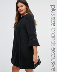 Truly You Fluted Sleeve Shift Dress Black