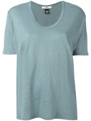 Hope Scoop Neck T Shirt Women Linen Flax 38 Green