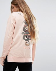 Criminal Damage Oversized Long Sleeve Sweat T Shirt With Dragon Back Print Pink Multi