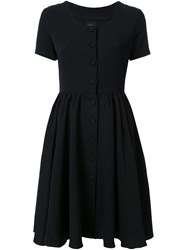 Ikumi Short Sleeve Button Front Dress Black