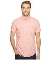 Calvin Klein Jeans Cross Hatch Slub Button Down Shirt Daredevil Orange Men's Short Sleeve Button Up Pink