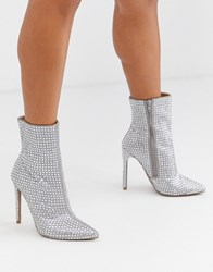 Steve Madden Winnings Rhinestone Heeled Ankle Boots In Silver