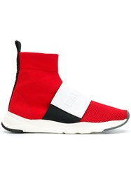 Balmain Logo Sock Sneakers Red