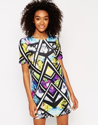 Asos Floral Mirrored Aztec T Shirt Dress Multi