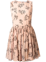 Red Valentino Tattoo Print Dress Pink And Purple