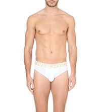 Versace Iconic Low Rise Stretch Cotton Briefs Pack Of 2 White Gold