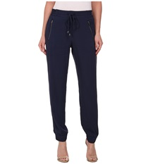 Splendid Rayon Voile Soft Pants With Zippers Navy Women's Casual Pants