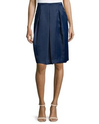 Halston Box Pleated Knee Length Skirt Navy