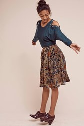 Anthropologie Velvet Glasgow Skirt Green Motif