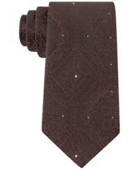 Sean John Men's Tonal Medallion Tie Brown
