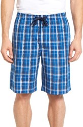 Nordstrom Men's Men's Shop Poplin Lounge Shorts Blue Marmara Plaid