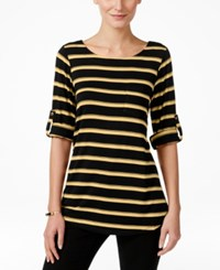 Cable And Gauge Striped Knit Tee Black Tan