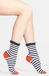 Nordstrom 'Short And Sweet' Ruffle Anklets 3 For 18 Navy Iris Ivory Stripe