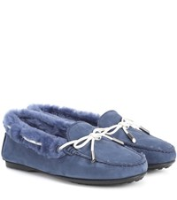 Tod's City Gommino Suede Loafers Blue