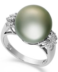 Macy's 14K White Gold Ring Tahitian Pearl 12Mm And Diamond 1 4 Ct. T.W. Ring Gray