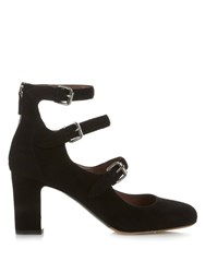 Tabitha Simmons Ginger Suede Block Heel Pumps Black