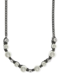Givenchy Hematite Tone Imitation Pearl And Crystal Collar Necklace Gold