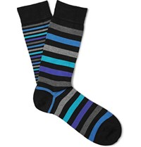Marcoliani Striped Pima Cotton Blend Socks Turquoise