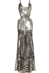 Roberto Cavalli Sequin Embellished Floor Length Dress With Cut Out Detail