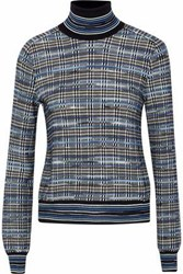 Missoni Checked Wool Blend Turtleneck Sweater Blue