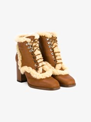 Laurence Dacade Manushka Shearling Lined Ankle Boots Brown Cream Blue