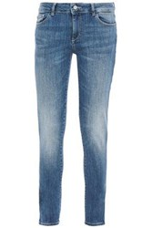 Dl1961 Woman Faded Low Rise Skinny Jeans Light Denim