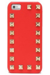 Valentino Rockstud Textured Leather Iphone 5 Case Tomato Red