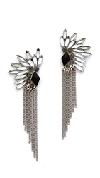 Adia Kibur Crystal Fringe Earrings Silver Clear Black