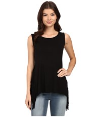 Brigitte Bailey Berlyn Stripe Panel Fringe Tank Top Black Women's Sleeveless