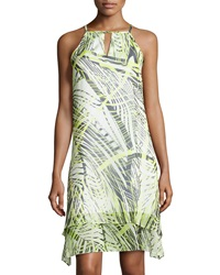 Marc New York By Andrew Marc Keyhole Printed A Line Sleeveless Dress Citron