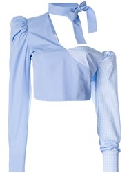 Daizy Shely Deconstructed Shirt Blue