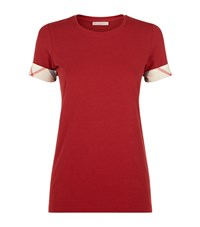 Burberry Check Cuff T Shirt Female Red