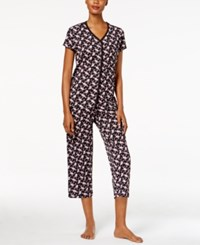 Charter Club Loop Trimmed Top And Cropped Pants Printed Pajama Set Only At Macy's Mini Paisley
