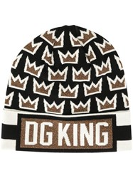 Dolce And Gabbana Dg King Crown Intarsia Beanie Multicolour
