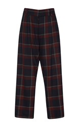 Suno Wine Plaid Pleated Trousers